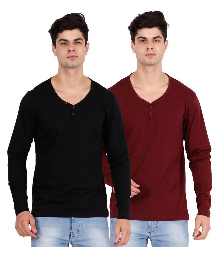 OJASS Multi V-Neck T-Shirt Pack of 2