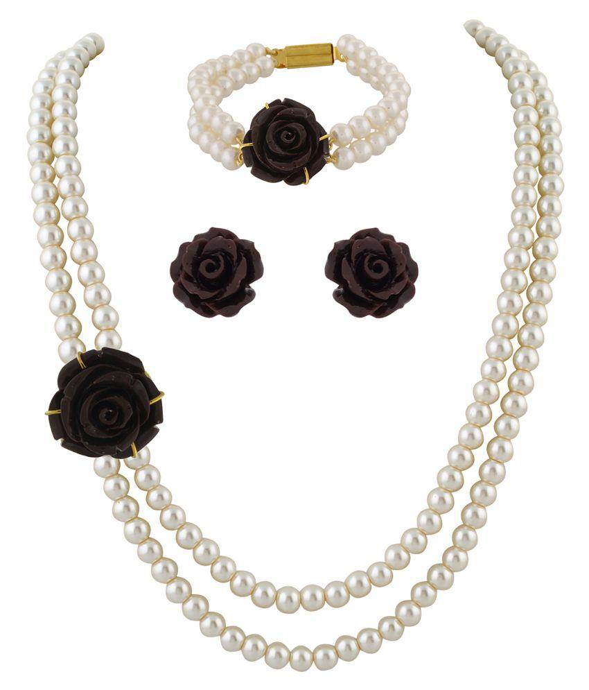 \nClassiqueDesigner Jewellery Brown Rose Pearl Set with Bracelet