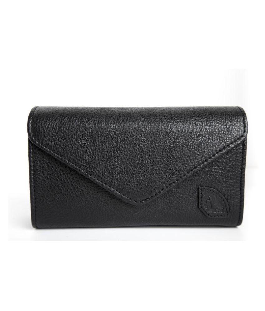 Foal Black Pure Leather Box Clutch