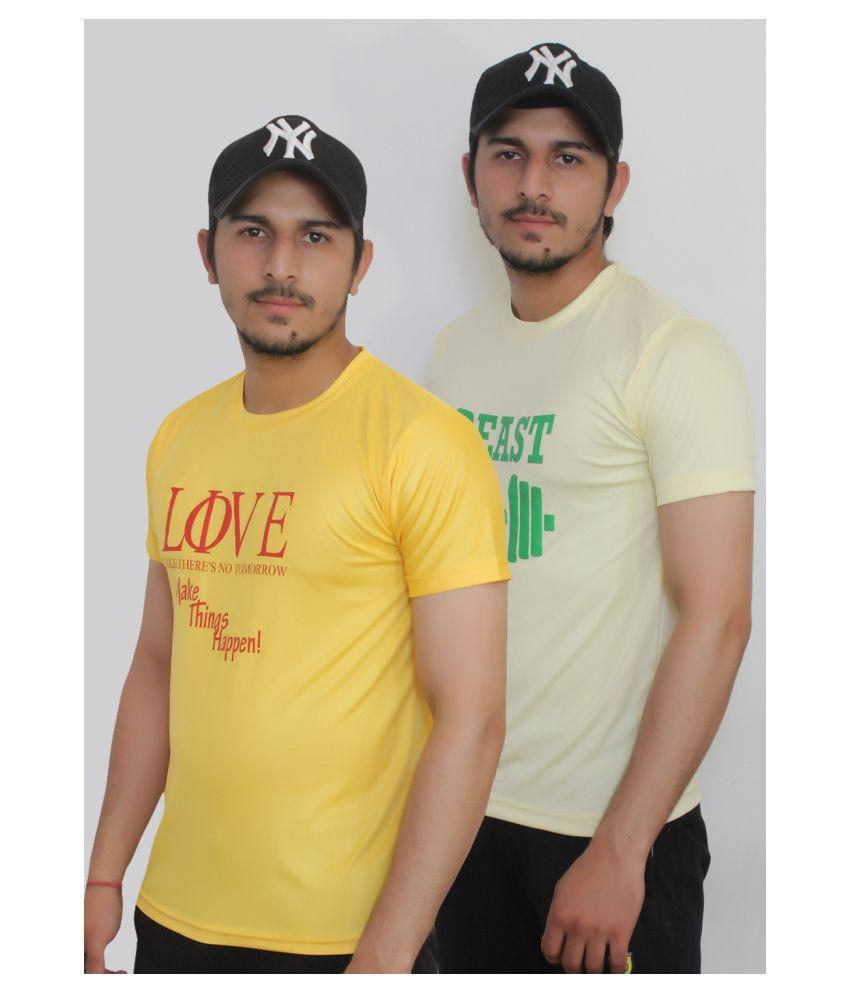 KOODDIES Yellow Round T-Shirt Pack of 2