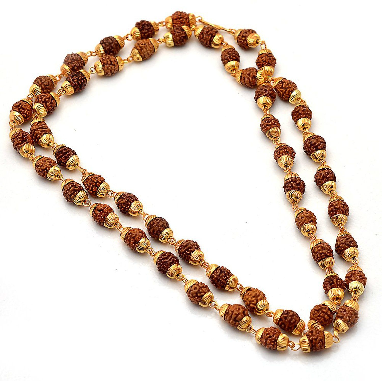 Rudraksha Mala Gold Plated Hindu Religious Mala 24 Inch Length, 6mm Beads