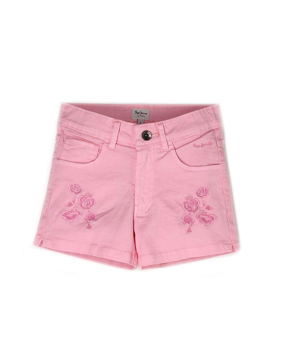 Pepe Jeans Girls Cotton  Regular Casual Pink Short