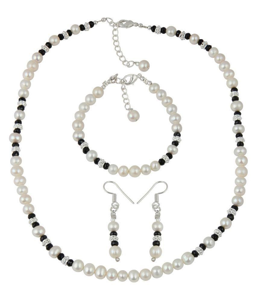 Pearlz Gallery Attractive Black Spinal Faceted White Cultured Freshwater Pearl Necklace Earrings and Bracelet Trendy Jewelry Set for Women
