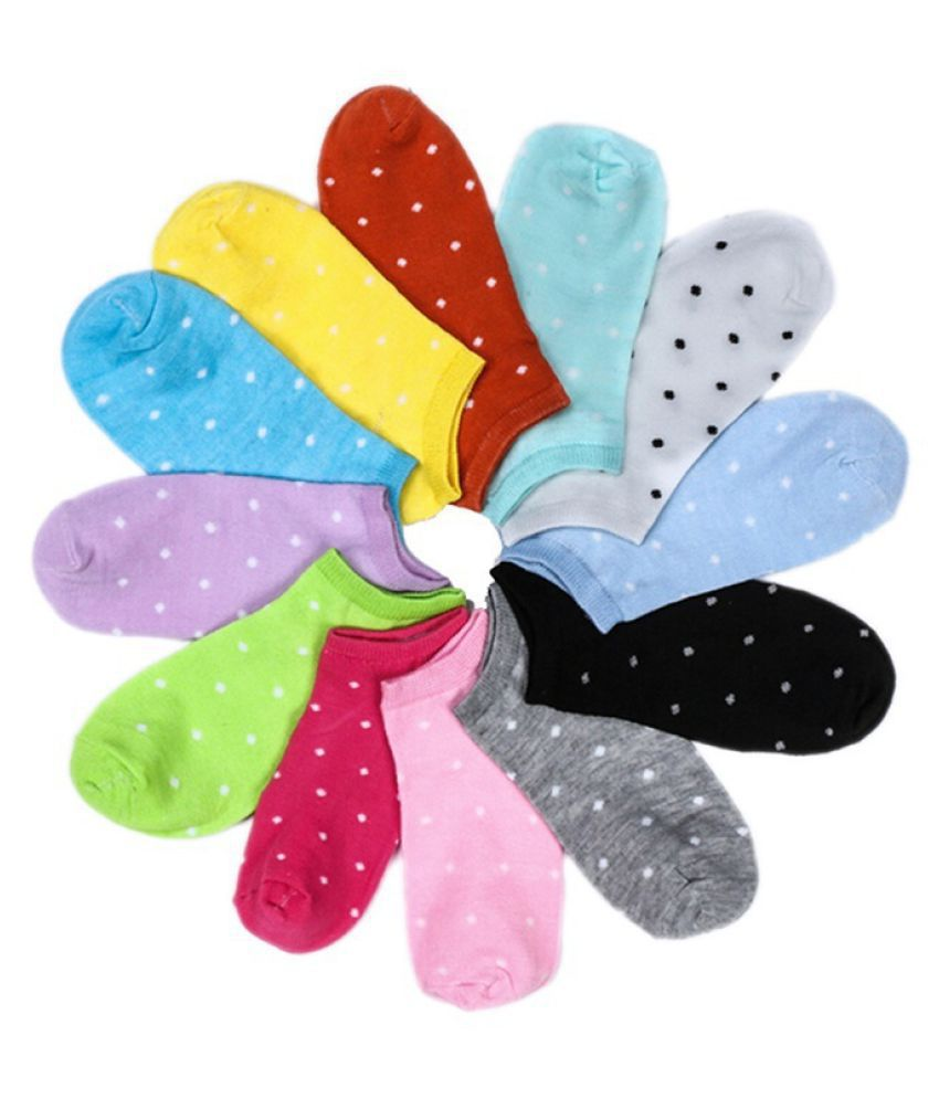 5 pairs  Wave point Women Comfortable Candy Color Cotton Sock Slippers Short Socks Fashion Ankle Socks Prefect  Random Color