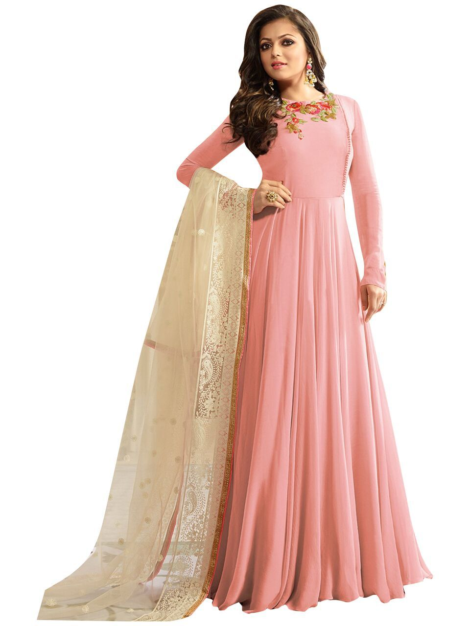 109372eb5a DEVAL CREATION Pink and Orange Georgette Anarkali Gown Semi-Stitched Suit -  Buy DEVAL CREATION Pink and Orange Georgette Anarkali Gown Semi-Stitched  Suit ...