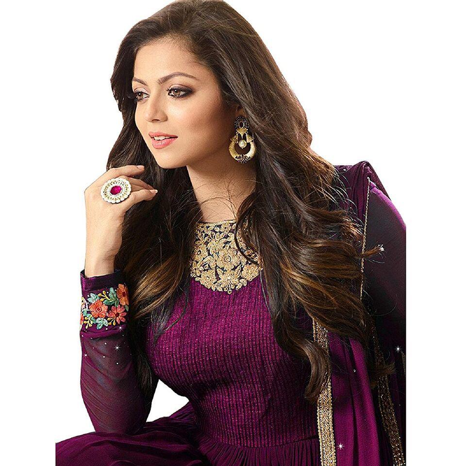ccb340fa8cf6 ... DEVAL CREATION Purple Georgette Anarkali Gown Semi-Stitched Suit ...