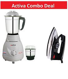Activa Pluto 500 Watt 2 Jar Mixer Grinder with Free Electric Dry Iron