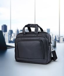 Tuscany Black Premium P.U. Leather Office Laptop Bag
