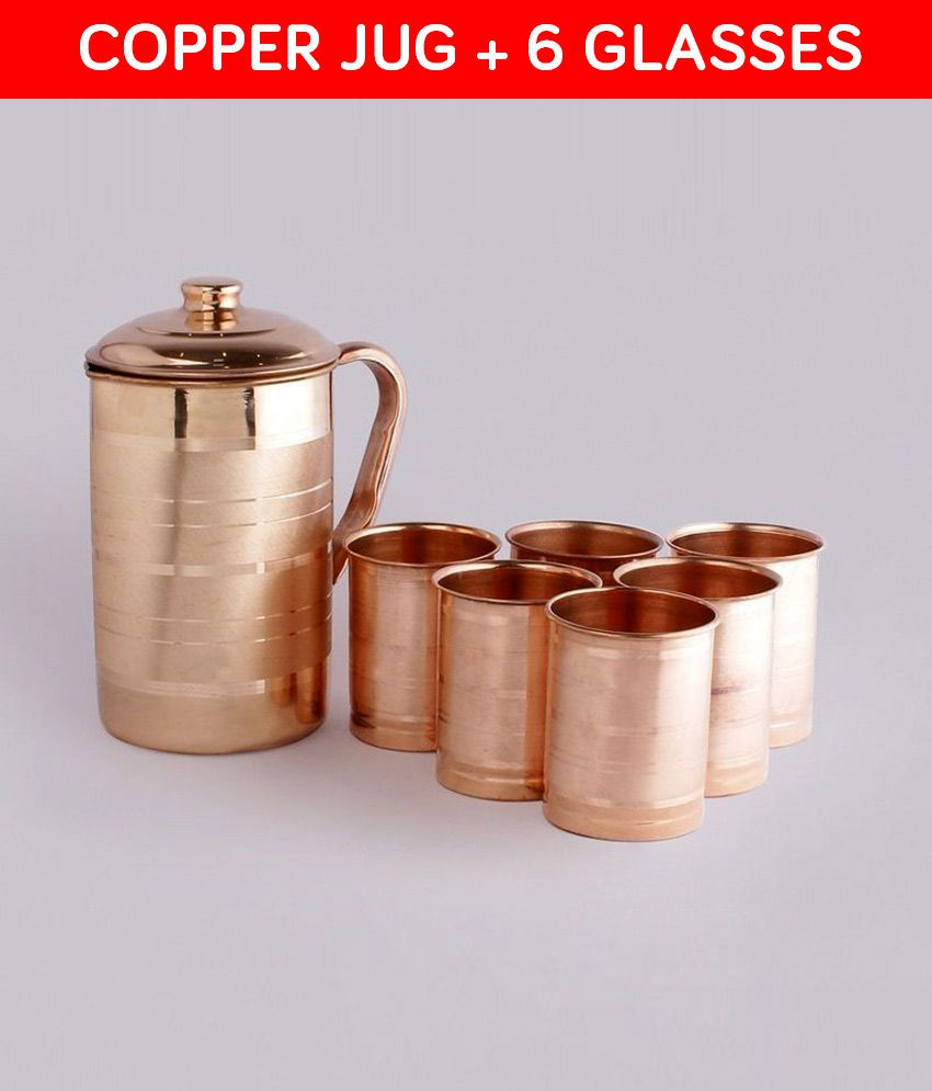 Jaipur Kala Kendra Copper Jug & Glasses - Set of 7