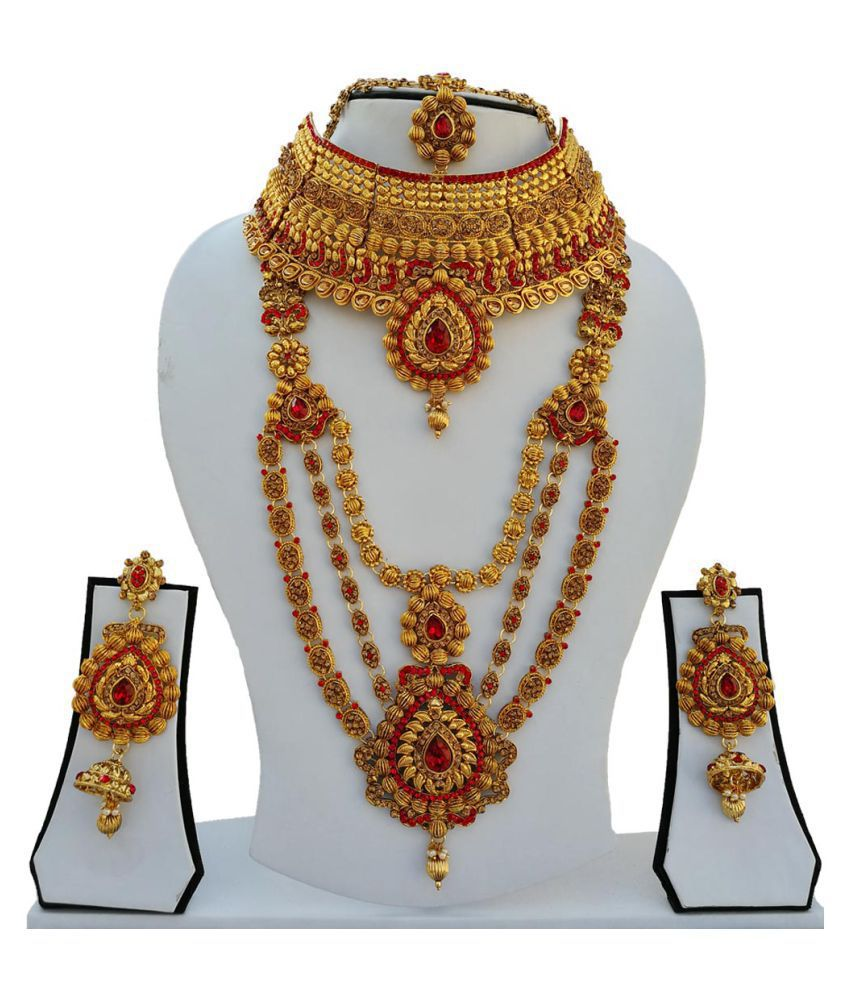 Finekraft Kundan Gold Plated Nice Wedding Designer Necklce Jewelry Set