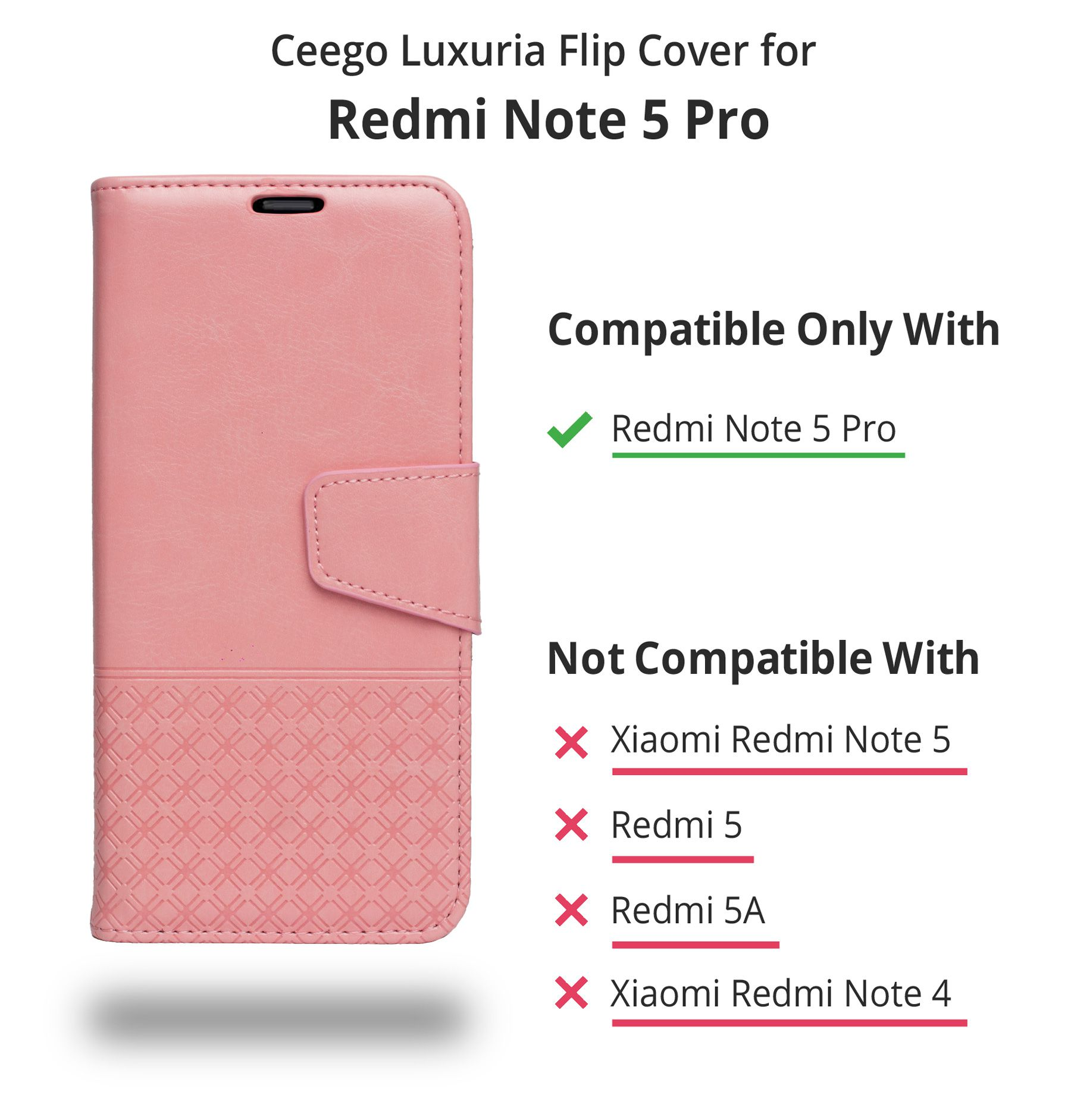Xiaomi Redmi Note 5 Pro Flip Cover by Ceego Pink