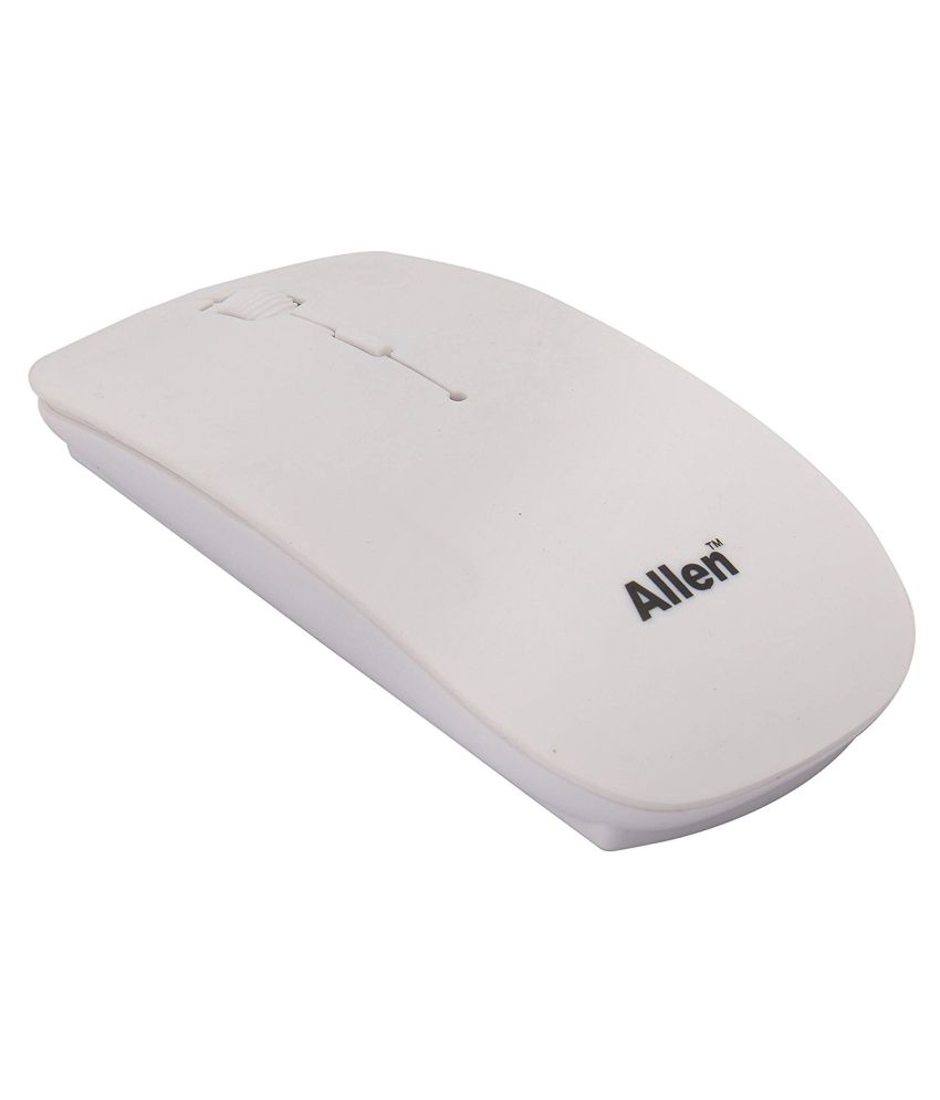 Allen A-909 White Wireless Mouse 2.4Ghz Ultra Slim Optical Mouse (Wireless, White) with On/Off Button