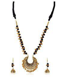 Rai Collection Women Fashion Designer Black Beaded Gold Plated Strand Necklace Pendant Neckpiece Set w/ earrings/ Modern Stylish Classy Indian Festive Occasion Fancy Artificial Lightweight Jewelry