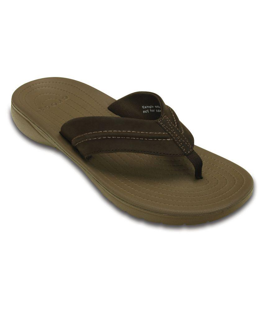 nouveau concept d2472 9fe99 Crocs Yukon Mesa Brown Thong Flip Flop