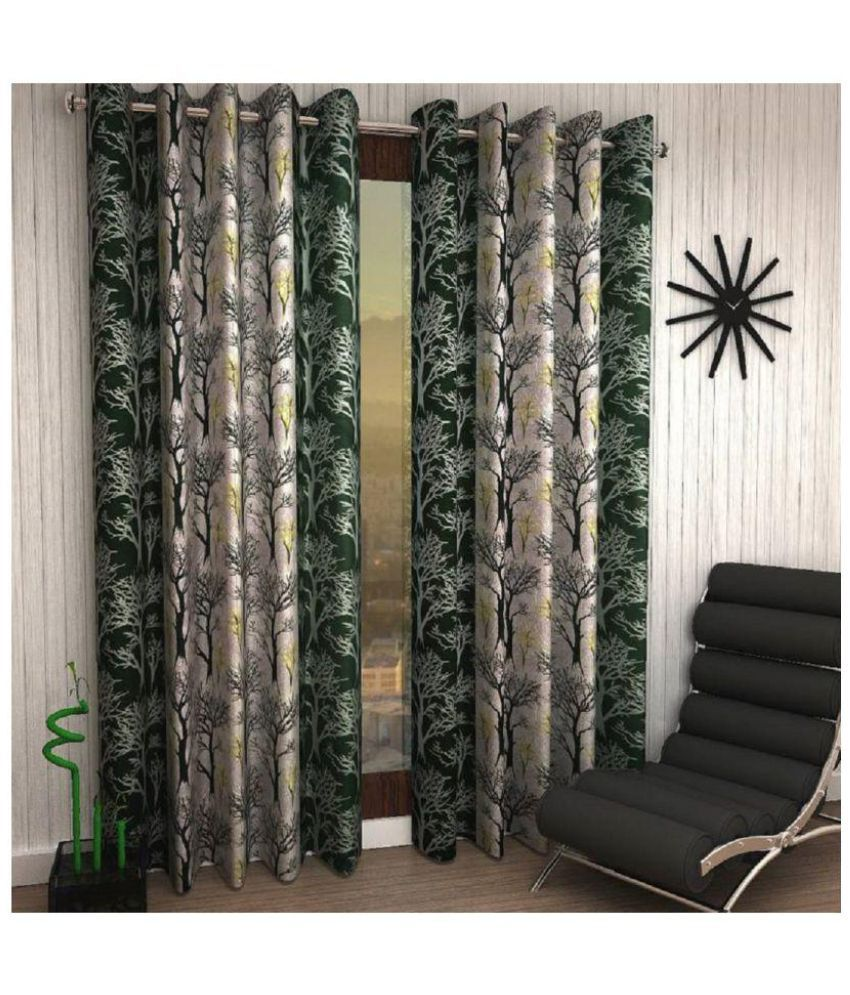 Geonature Set of 2 Door Eyelet Curtains Floral Green
