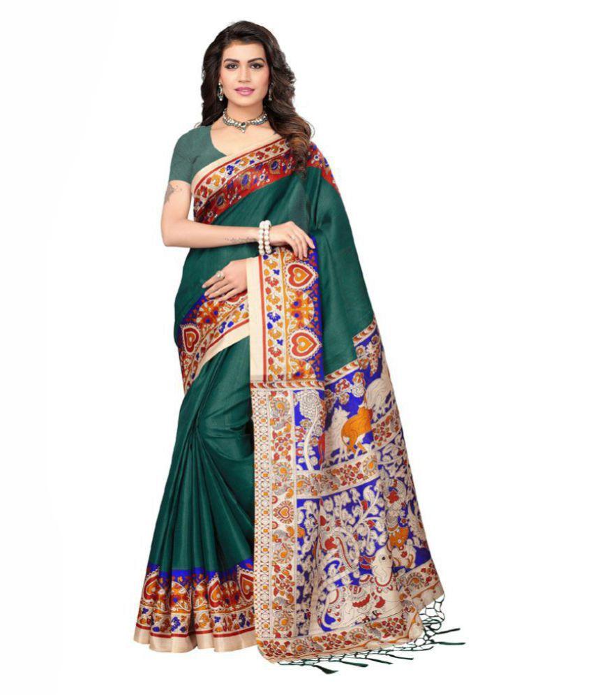 PRISKA Green Bhagalpuri Silk Saree