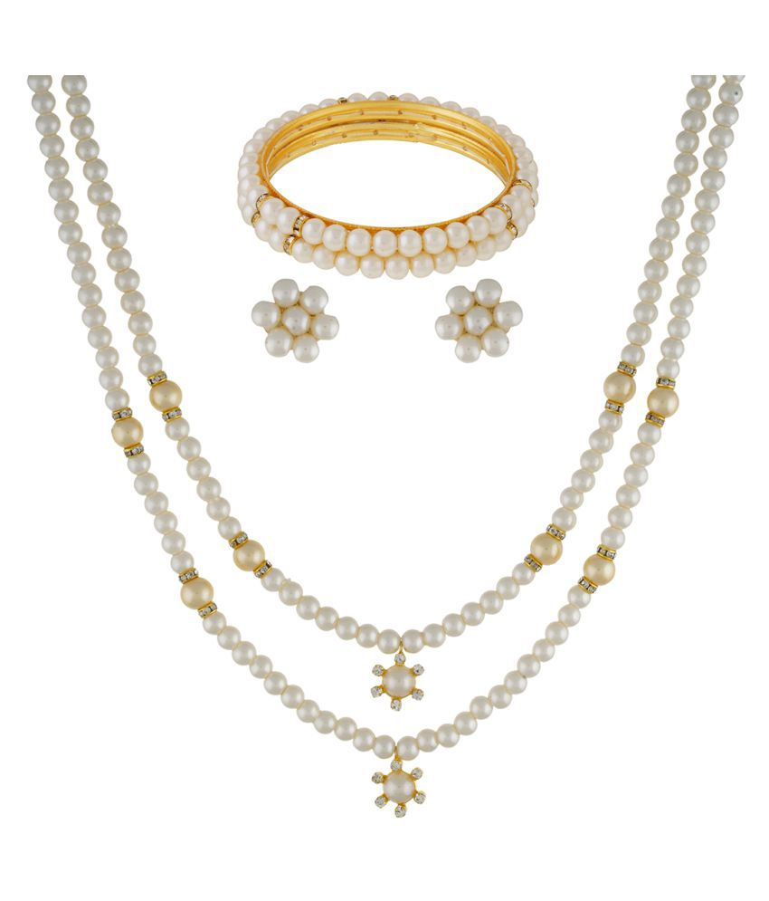 ClassiqueDesigner Jewellery Simple and Beautiful Pearl Set with Bangles