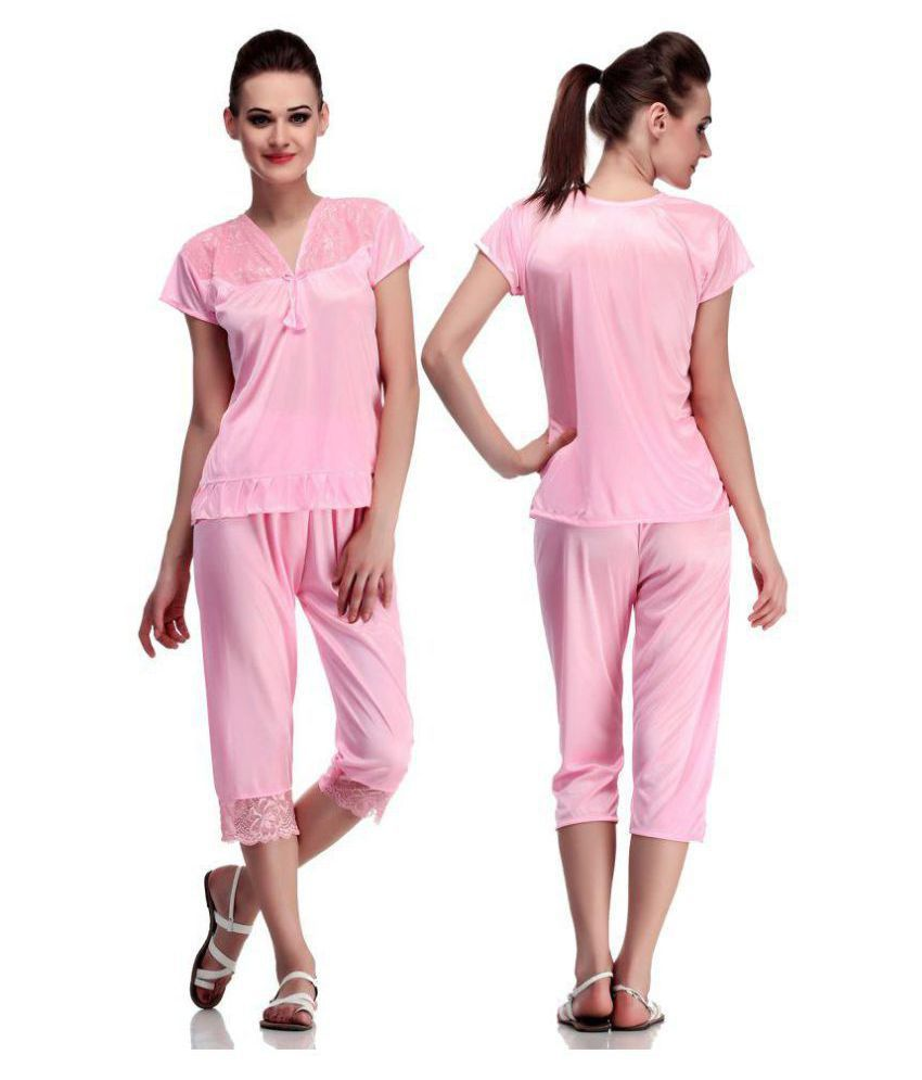 0560ee41f0 Buy DILJEET Satin Nightsuit Sets - Pink Online at Best Prices in India -  Snapdeal