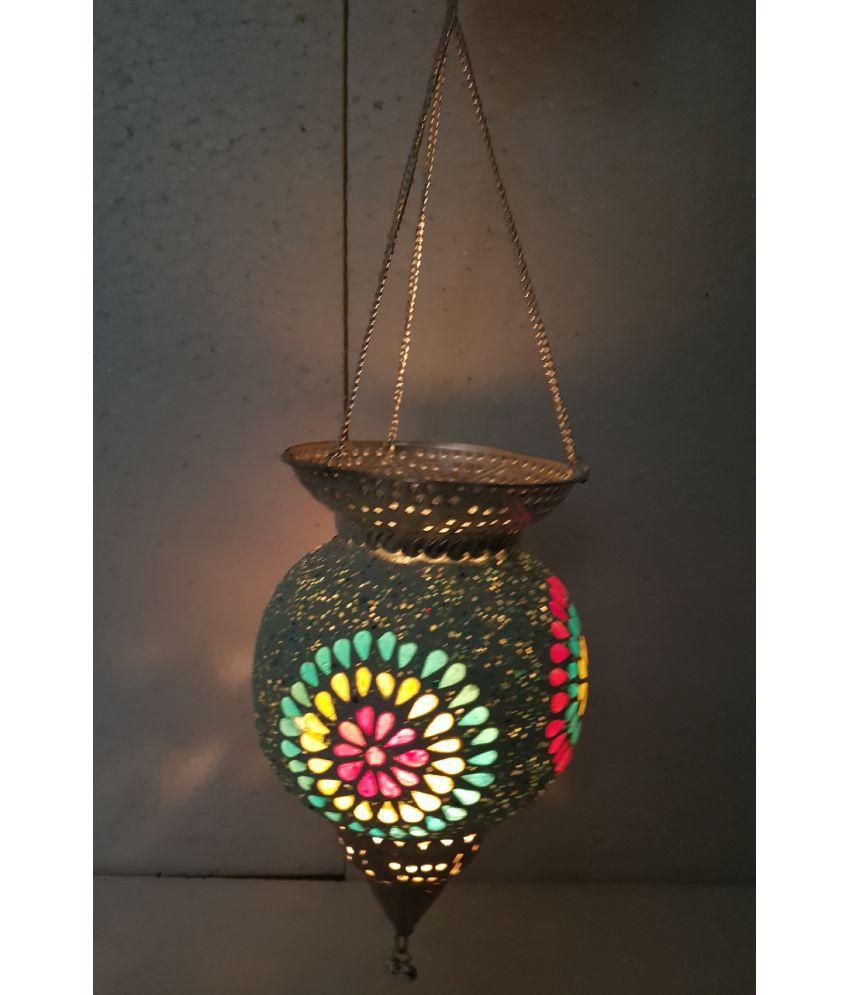 Desert Overseas Brass Glass Silver Color Round Shape Hanging Pot