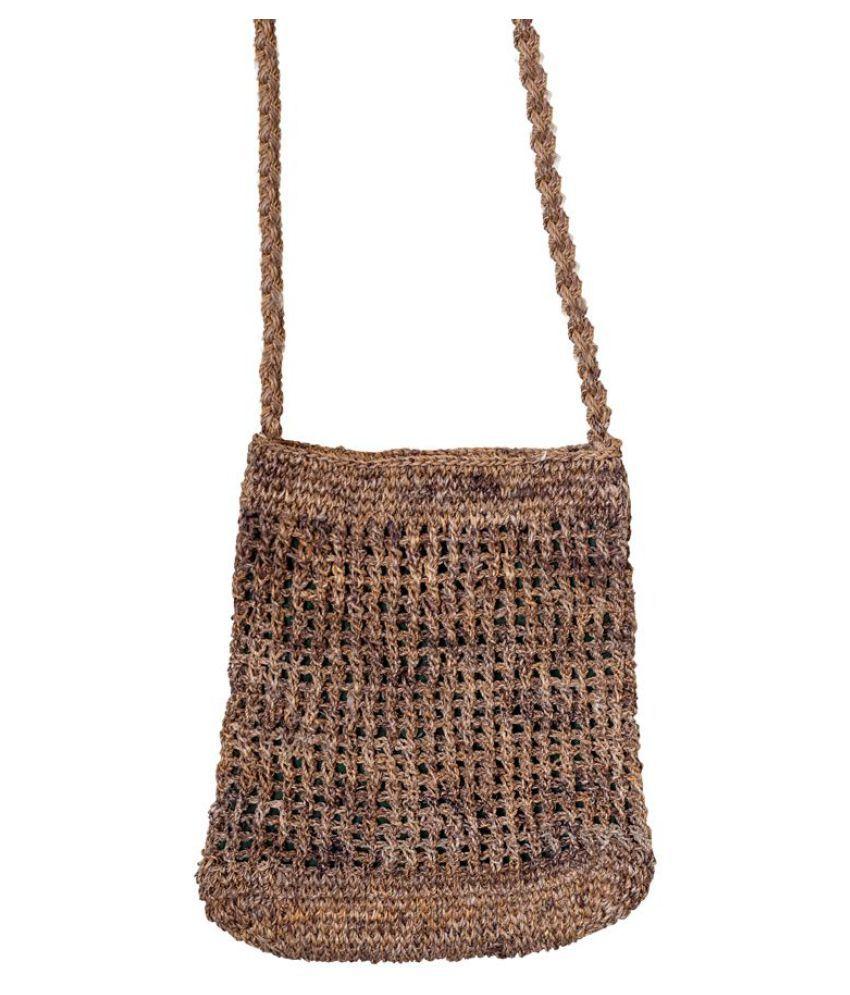 Banana Fibre Craft Brown Knitted Sling Bag