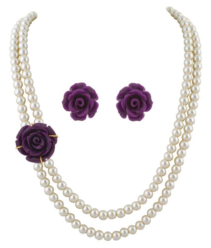 ClassiqueDesigner Jewellery Purple Rose Pearl Set