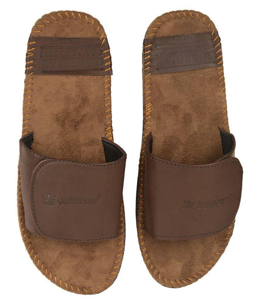 ILU Casual Stylish Velcro Brown Slide Flip flop
