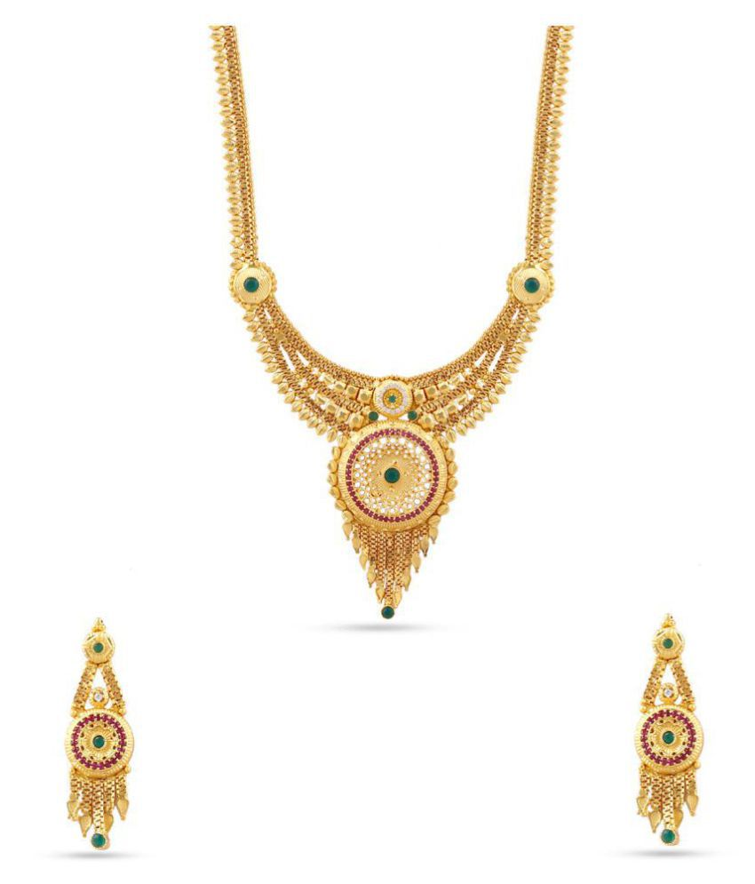 Kalyani Covering 21K Gold plated Long Necklace set for Women and Girls