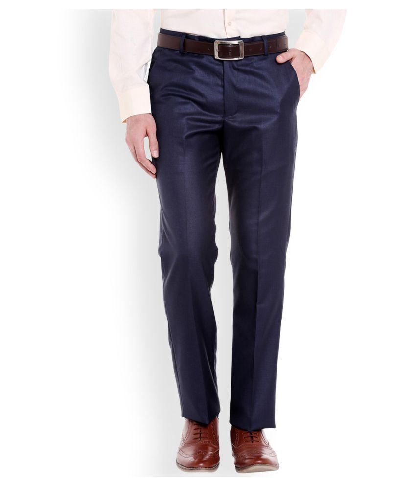 Style Navy Blue Regular -Fit Flat Trousers