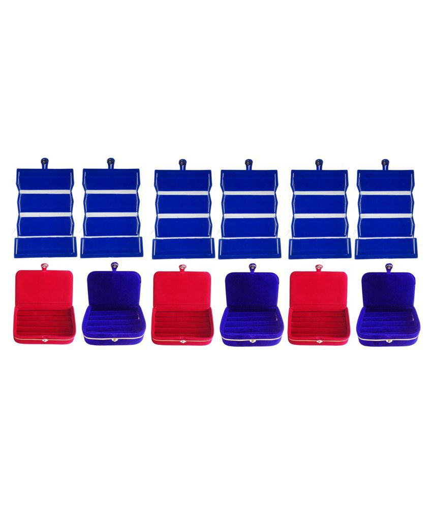 Combo  6 pc blue earring folder 3 red ear ring box and 3 pc blue ring box jewelry vanity box