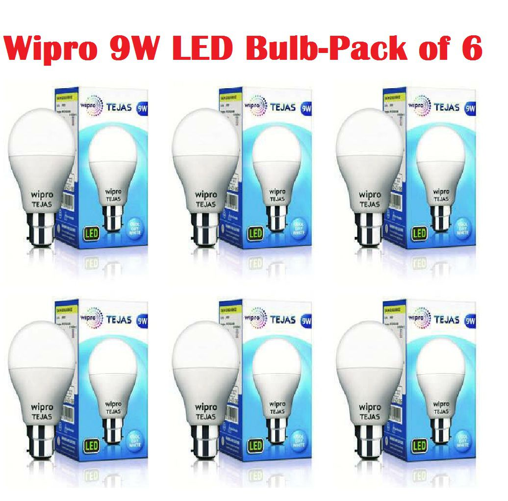 Wipro 9W LED Bulb Cool Day Light - Pack of 6