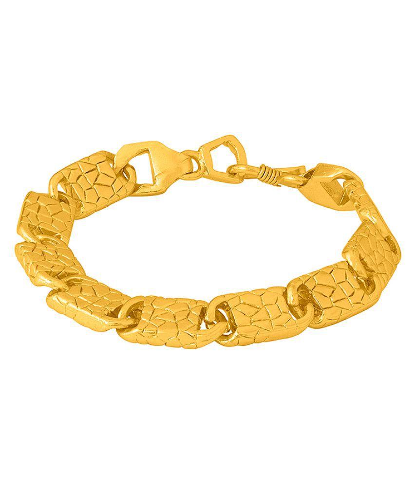 Dare by Voylla Line Textured Yellow Gold Plated Bold Bracelet For Men
