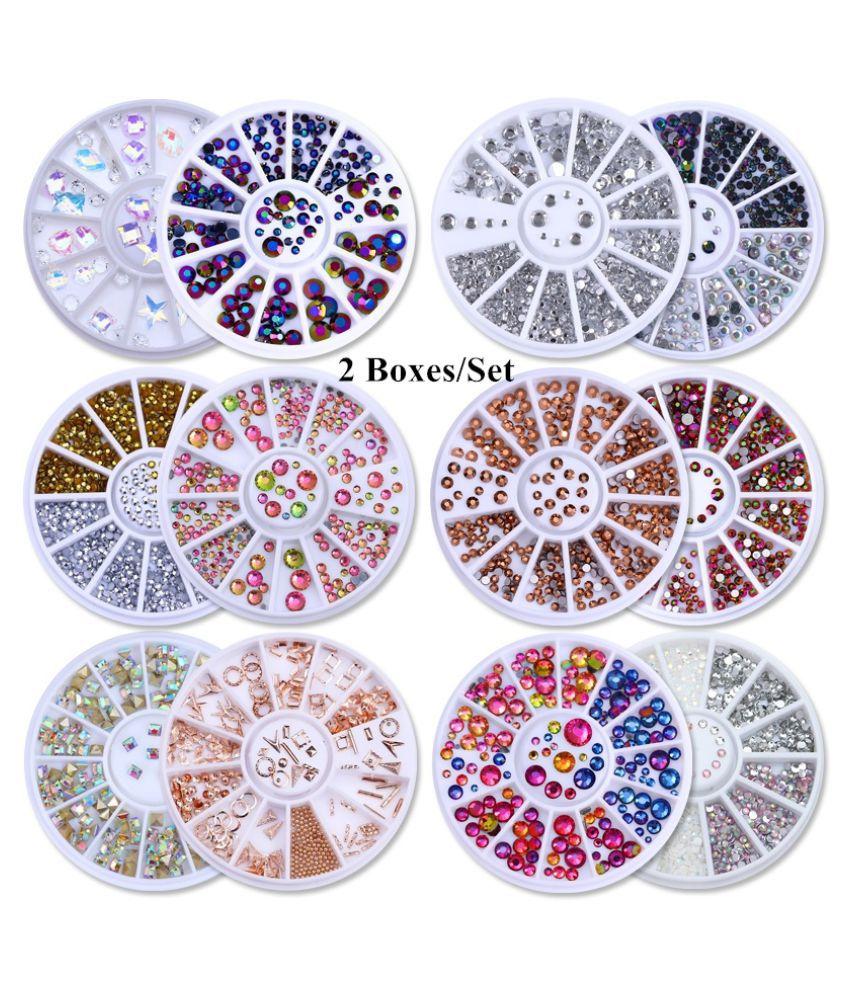 2 Boxes Nail Art Rhinestones Crystal Beads Round 3D Charms Acrylic UV Gel Nail Jewelry 3D Nail DecorationNail Art