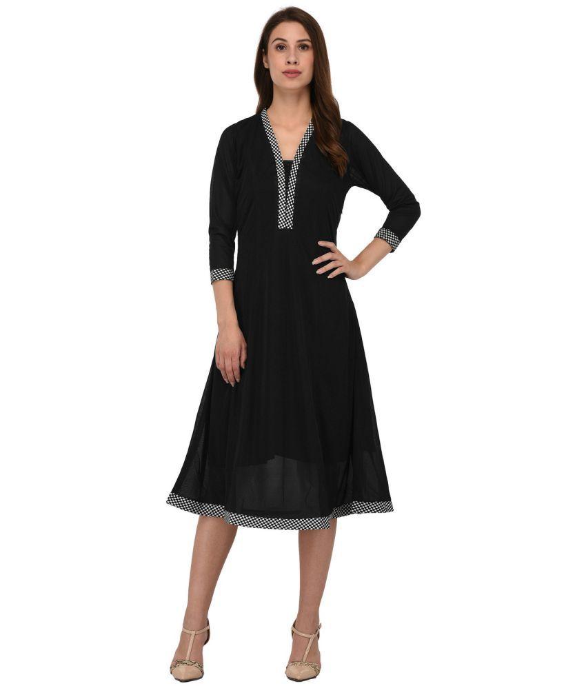 9f105536282d Blue Blaze Polyester Black Asymmetric dress - Buy Blue Blaze ...