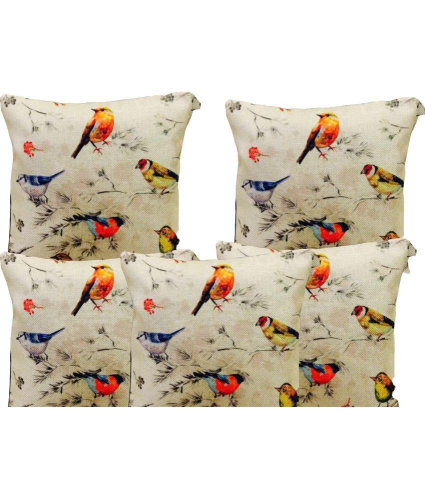 Nidhi Fab Set of 5 Jute Cushion Covers 40X40 cm (16X16)