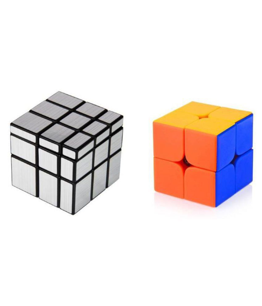 Civil Magic Silver Mirror & 2x2 Combo Puzzle Cube Brainstorming Game Toy (2  Pieces) (2 Pieces)