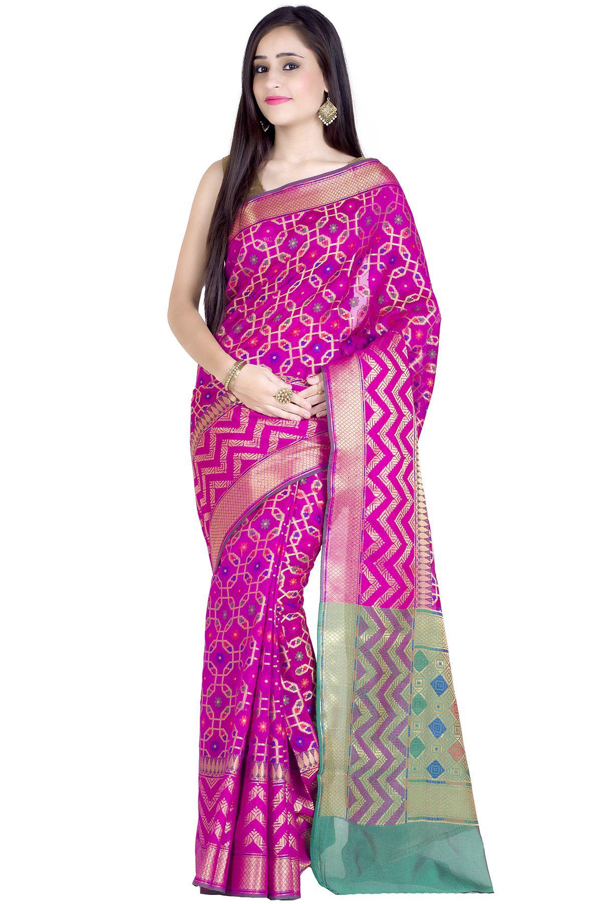 Chandrakala Magenta Cotton Silk Saree