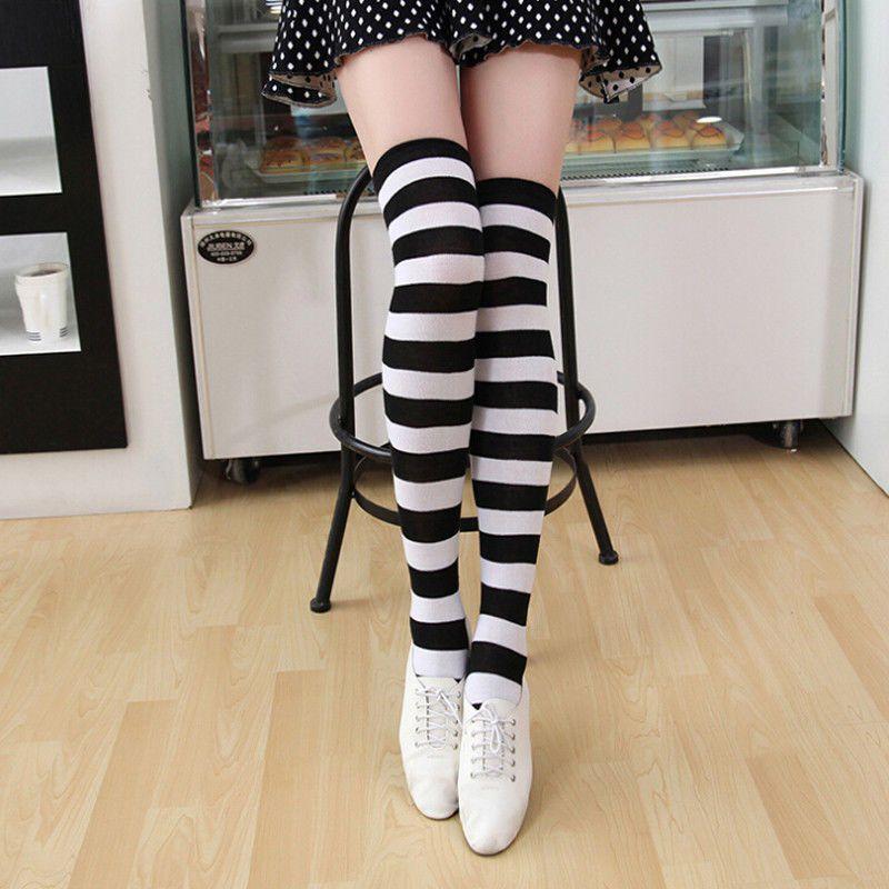 Women Girl Stripe Striped Over The Knee Thigh High Stockings Long Socks