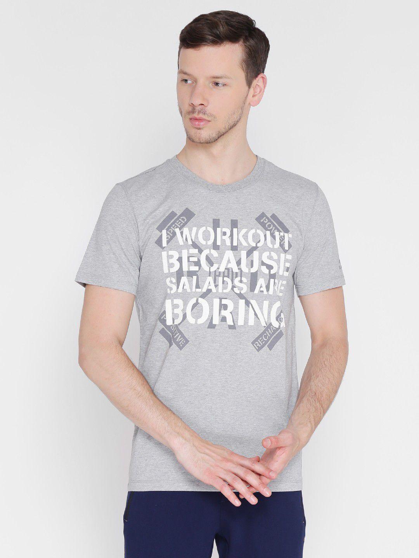 Alcis Mens Printed Grey Training T-Shirt