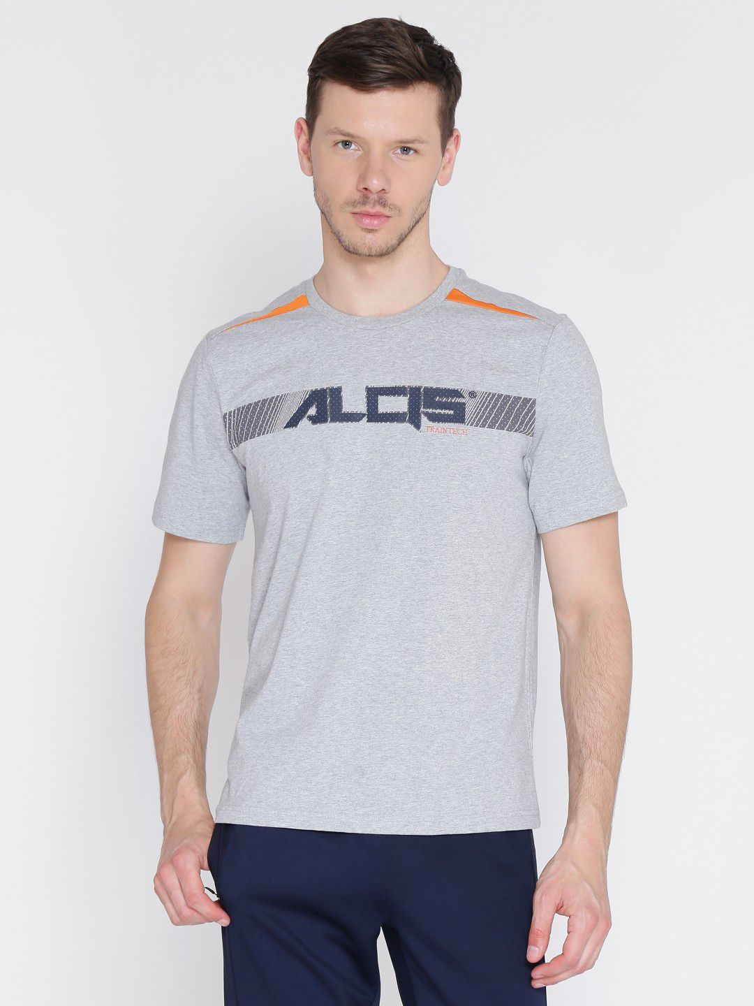 Alcis Mens Printed Grey Training T-Shirt