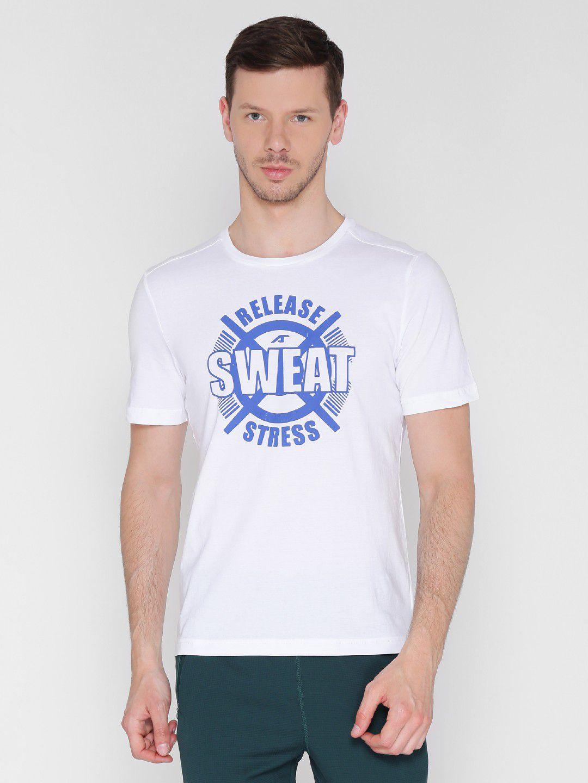 Alcis Mens Printed White Training T-Shirt
