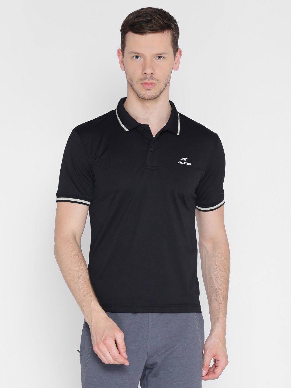 Alcis Mens Solid Black Polo T-Shirt