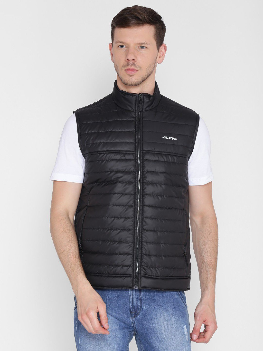 Alcis Mens Solid Black Quilted Jacket