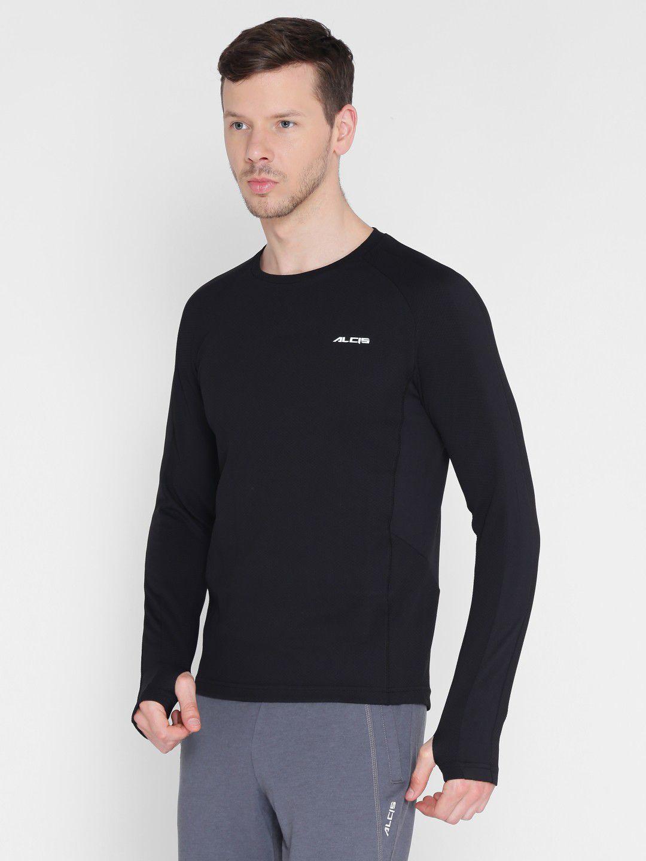 Alcis Mens Solid Black Running T-Shirt