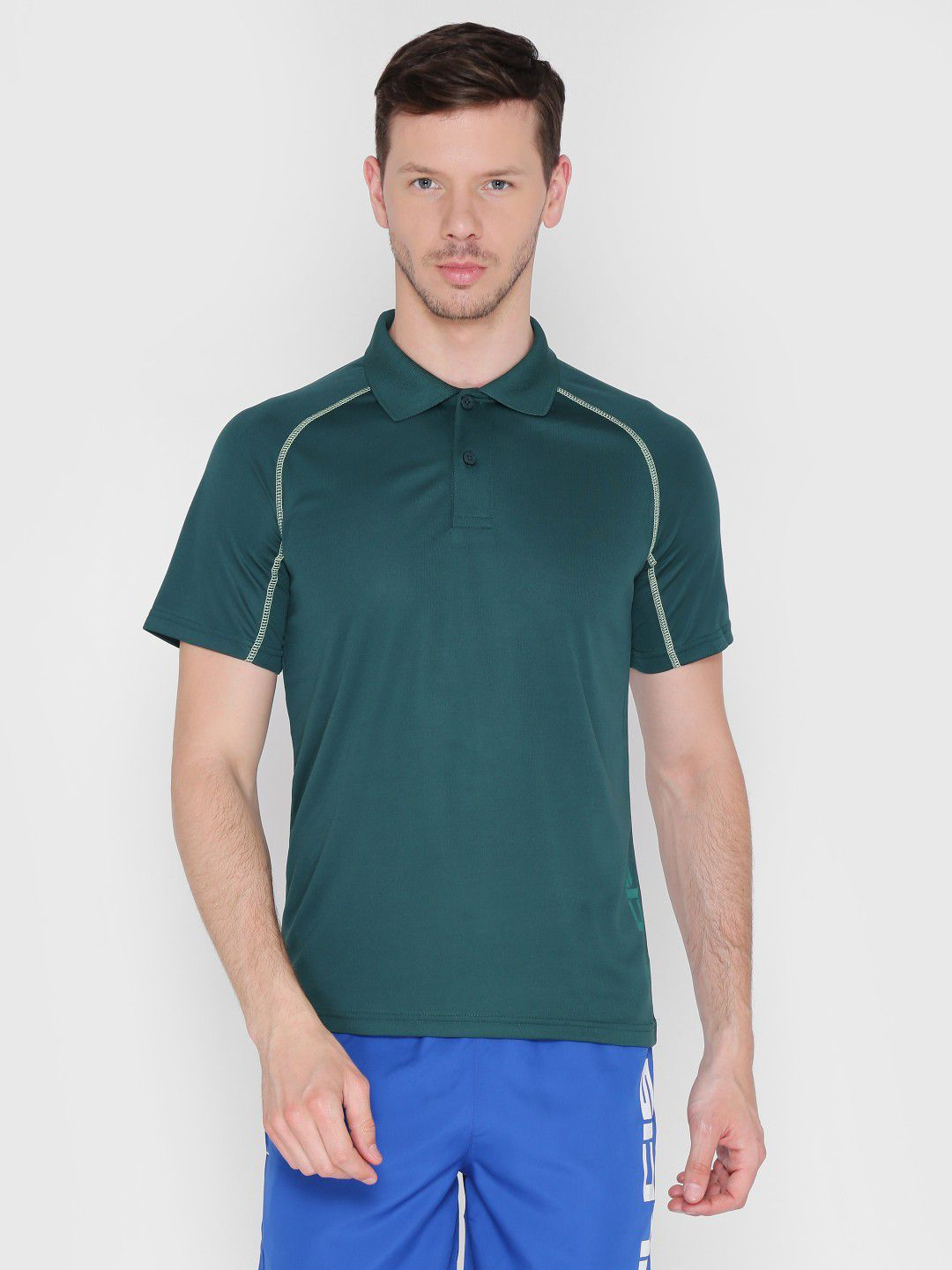 Alcis Mens Solid Olive Green Polo T-Shirt