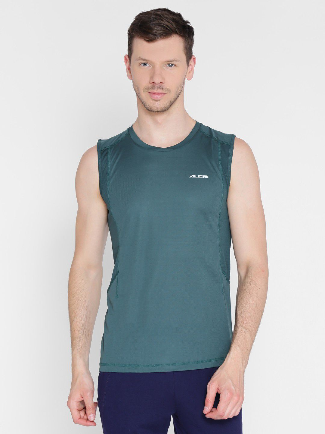 Alcis Mens Solid Olive Green Running T-Shirt