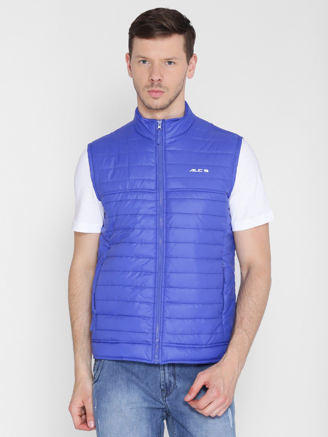 Alcis Mens Solid Royal Blue Quilted Jacket