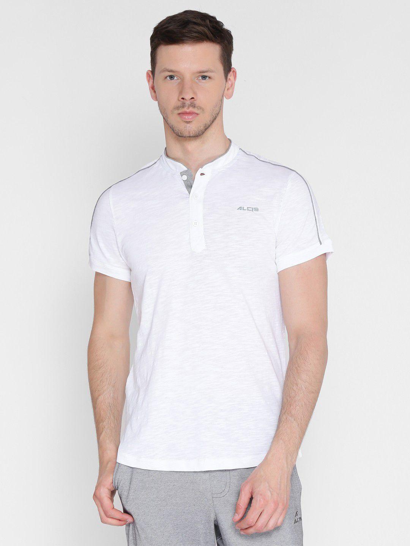 Alcis Mens Solid White Yoga T-Shirt