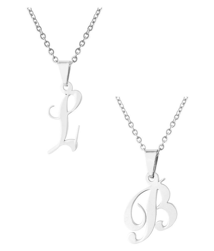 Dare by Voylla Stainless Steel Alphabet B and L Pendants Combo