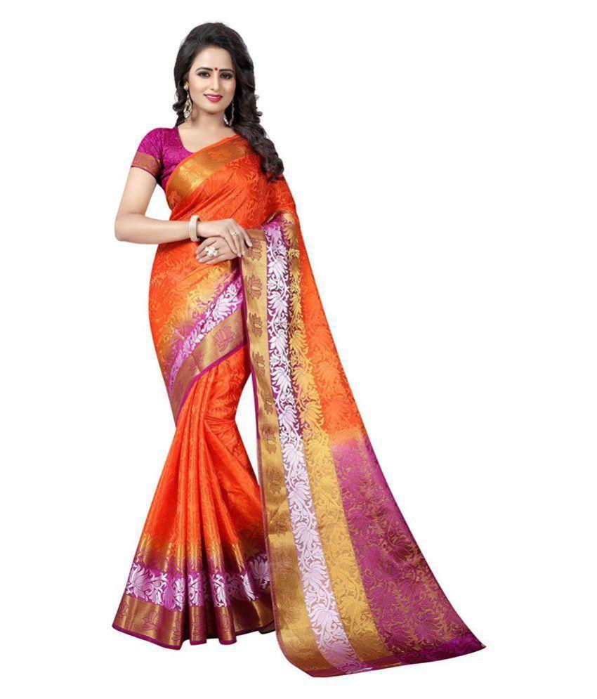 Gift Icon Orange Tussar Silk Saree