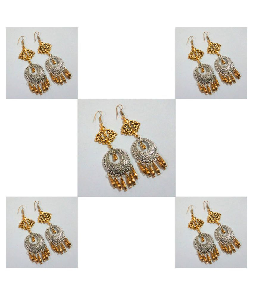 Jaipur Mart Gold & Silver Color 5 Pairs Of Earrings Combo